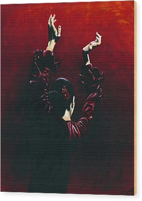 Flamenco Fire Wood Print by Richard Young