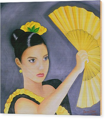 Flamenco Girl Wood Print by Fanny Diaz