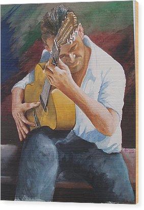 Flamenco Guitar Wood Print by Charles Hetenyi