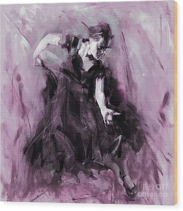 Wood Print featuring the painting Flamenco Spanish Dance Art by Gull G