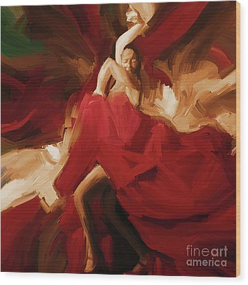 Wood Print featuring the painting Flamenco Spanish Dance Painting 01 by Gull G