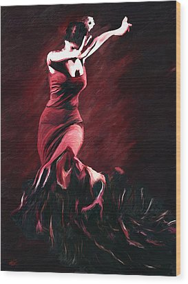 Flamenco Swirl Wood Print by James Shepherd