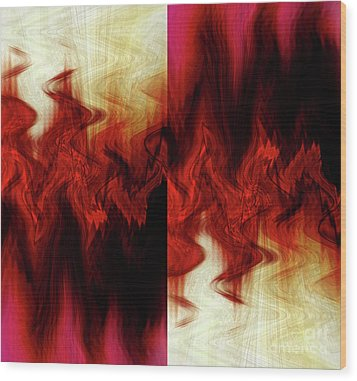 Flames Wood Print by Cherie Duran