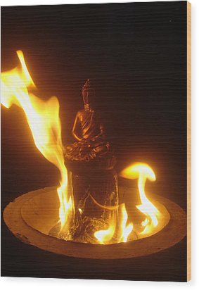 Flaming Buddha Wood Print by Steve Griffith