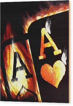 Flaming Bullets Pocket Aces Poker Art Wood Print by Teo Alfonso