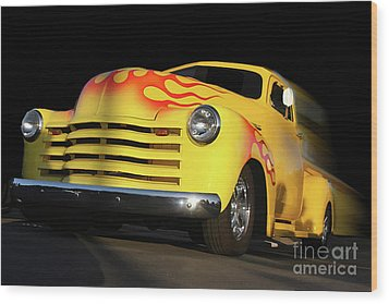 Flaming Chevy Wood Print by Tom Griffithe