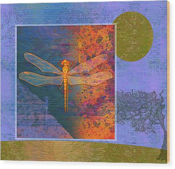Flaming Dragonfly Wood Print by Mary Ogle
