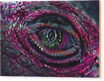 Flaming Dragons Eye Wood Print