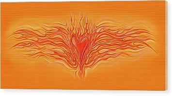 Flaming Heart Wood Print by David Kyte