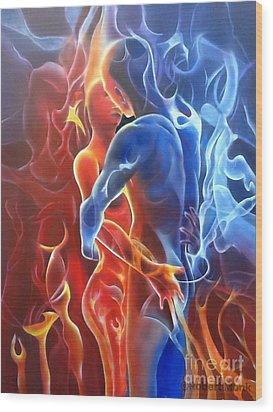 Flaming Lovers Wood Print