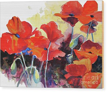 Wood Print featuring the painting Flaming Poppies by Kathy Braud