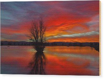 Flaming Reflections Wood Print