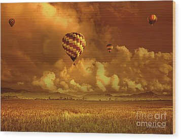 Wood Print featuring the photograph Flaming Sky by Charuhas Images