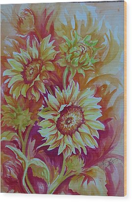 Flaming Sunflowers Wood Print by Summer Celeste
