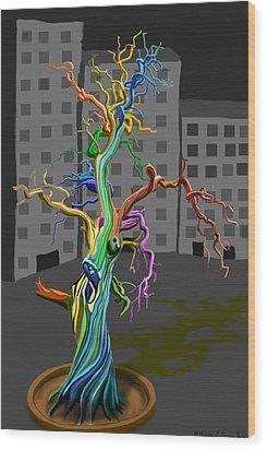 Flaming Tree Wood Print