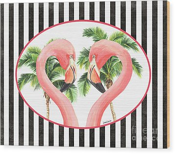 Wood Print featuring the painting Flamingo Amore 5 by Debbie DeWitt