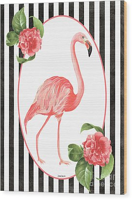 Wood Print featuring the painting Flamingo Amore 6 by Debbie DeWitt