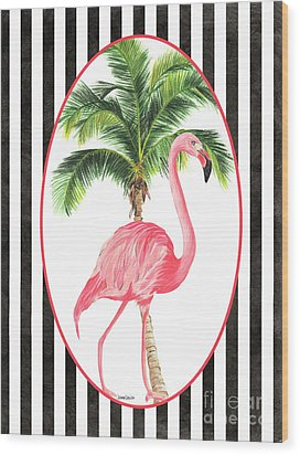 Wood Print featuring the painting Flamingo Amore 7 by Debbie DeWitt