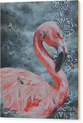Flamingo And Bees Wood Print