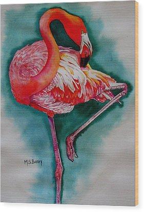Flamingo Ballerina Wood Print
