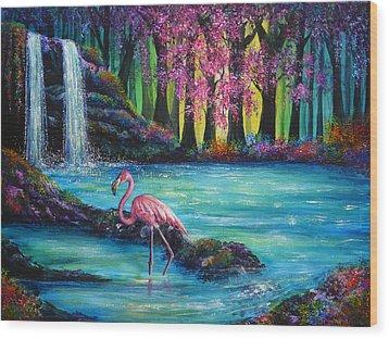 Flamingo Falls Wood Print by Ann Marie Bone