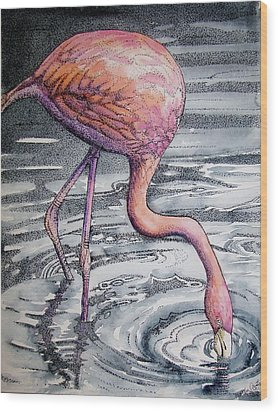 Wood Print featuring the painting Flamingo Fishing  II by Martha Ayotte