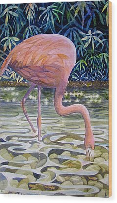 Wood Print featuring the painting Flamingo Fishing by Martha Ayotte