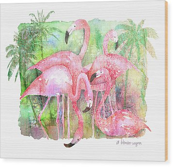 Flamingo Five Wood Print by Arline Wagner