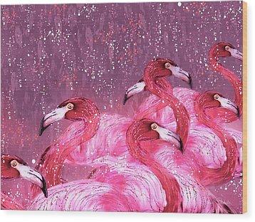Flamingo Frenzy Wood Print by Barbara Chichester