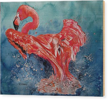Flamingo Inflight Wood Print by Maria Barry