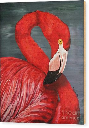 Flamingo Wood Print by JoAnn Wheeler