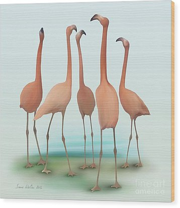 Flamingo Mingle Wood Print