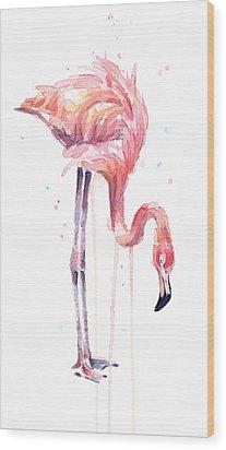 Flamingo Painting Watercolor Wood Print by Olga Shvartsur