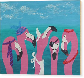 Wood Print featuring the painting Flamingo Party by Katherine Young-Beck