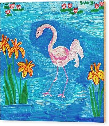 Flamingo Wood Print by Sushila Burgess