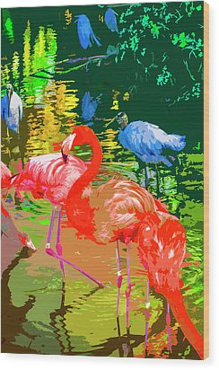 Flamingo Time Wood Print by Josy Cue