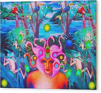Flamingodeusa In The Neon Jungle Wood Print