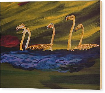 Flamingoes Swim African Birds Wood Print by Gregory Allen Page