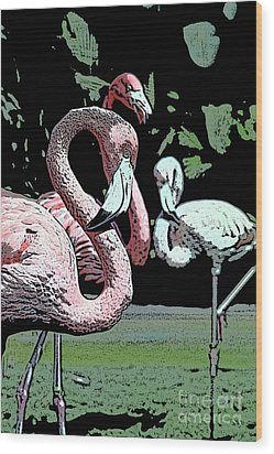 Wood Print featuring the photograph Flamingos II by Jim and Emily Bush