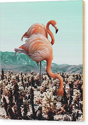 Flamingos In The Desert Wood Print by Uma Gokhale
