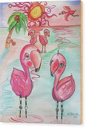 Flamingos In The Sun Wood Print