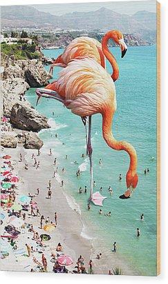 Flamingos On The Beach Wood Print by Uma Gokhale