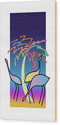 Flamingos Wood Print by Steve Ellis