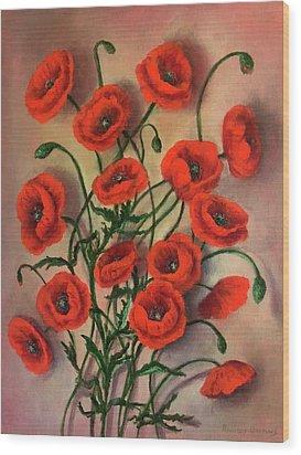 Flander's Poppies Wood Print