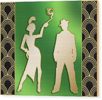 Wood Print featuring the digital art Flapper And The Gangster by Chuck Staley