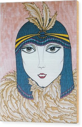 Wood Print featuring the greeting card Flapper Girl 2 by Rae Chichilnitsky