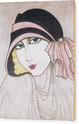 Wood Print featuring the greeting card Flapper Girl 3 by Rae Chichilnitsky