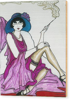 Wood Print featuring the greeting card Flapper Girl 4 by Rae Chichilnitsky