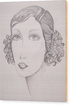 Wood Print featuring the drawing Flapper Girl by Leslie Manley