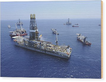 Flaring Operations Conducted Wood Print by Stocktrek Images
